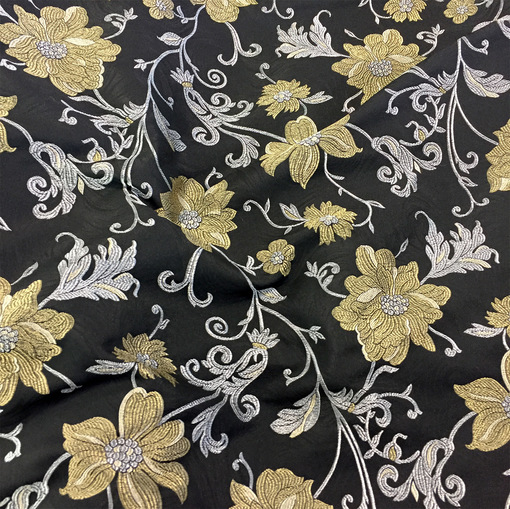 Жаккард Alberta Ferretti золотые цветы на черном фоне