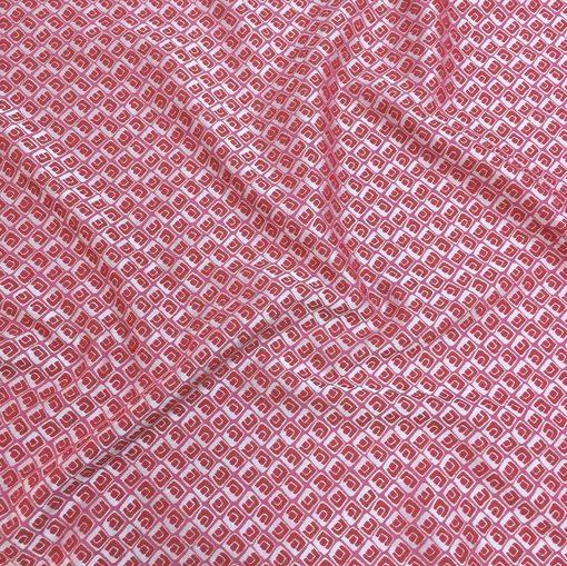 Жаккард хлопковый стрейч принт Prada геометрия в серо-малиновых тонах