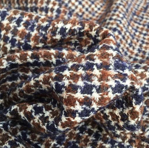 Ткань костюмная пье-де-пуль Burberry в сине-коричневых тонах