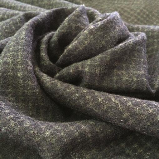 Ткань костюмная Prada тонкая шерсть с шелком черная клетка