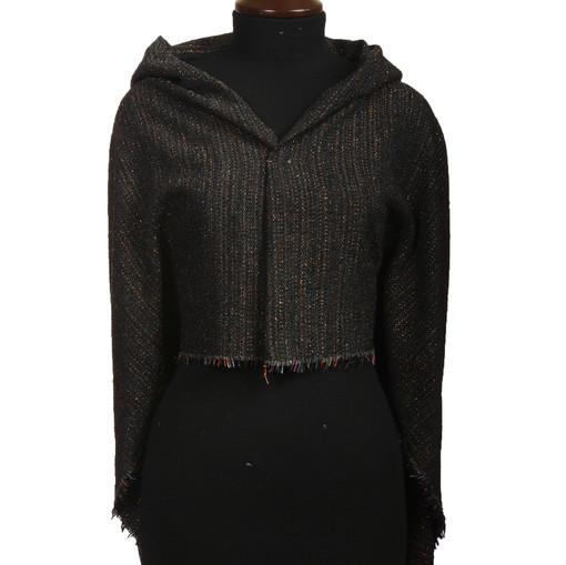 Нарядная костюмная шанель черного цвета с разноцветным люрексом