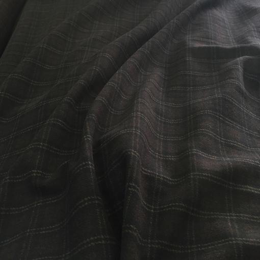 Пальтовая ткань темно-коричневая в клетку с мелким ворсом