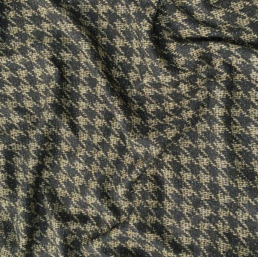 Ткань пальтово-костюмная черно-горчичная пье-де-пуль с люрексом