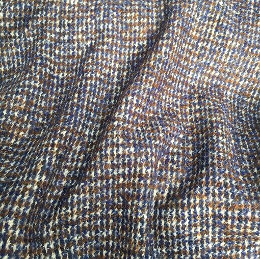 Ткань пальтово-костюмная сине-коричневая клетка Burberry