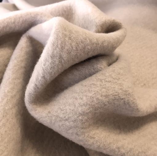 Ткань пальтовая Sportmax в диагональ жемчужного цвета
