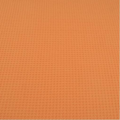 Пальтово-костюмная мягкая ткань грязно оранжевого цвета с вывязанным рисунком в виде гусиных лапок