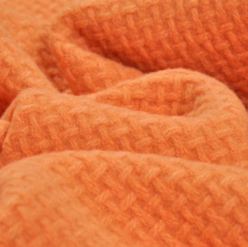 """Пальтово-костюмная мягкая ткань светло-оранжевого цвета с вывязанным рисунком под """"двунитку"""""""