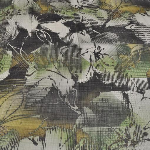 Марлевая шерсть принт абстракция в болотных тонах