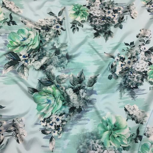 Муслин атласный Ferragamo цветы на голубом фоне