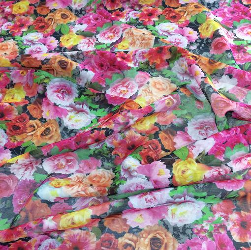 Шелк с хлопком шифон принт D&G акварельные цветы