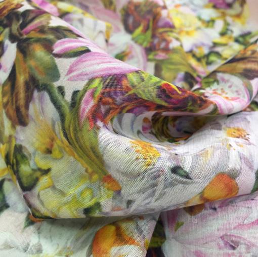 Шелк с хлопком шифон принт Blumarine цветочная поляна