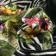 Шелк матовый продольный купон с растительным орнаментом