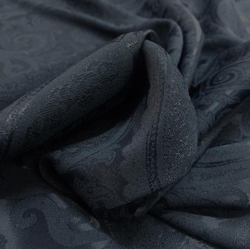 Вискоза плательная атласная с жаккардовыми узорами синяя