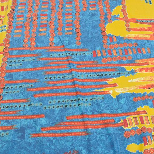 Вискозный трикотаж Save the Queen в кораллово-желто-голубых тонах