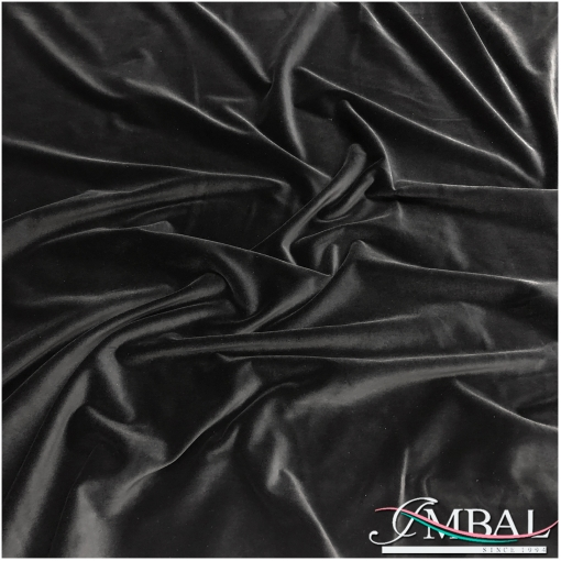 Бархат костюмно-плательный на хлопковой основе чёрного цвета