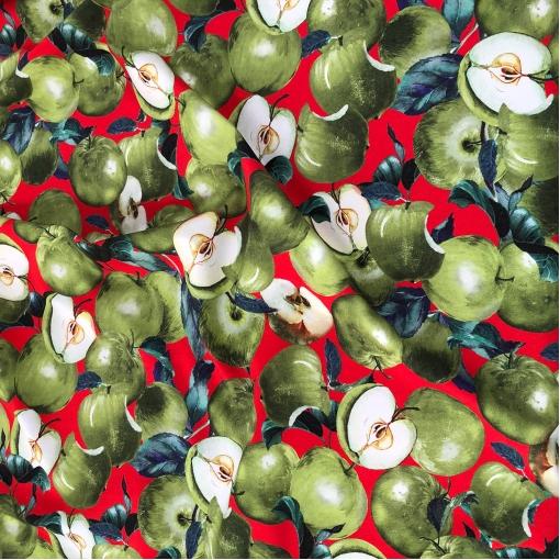 Джерси вискозное стрейч принт D&G яблоки на красном фоне