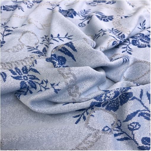 Джерси вискозное нарядное стрейч с люрексом дизайн Blumarine цветы и цепи на фиалковом фоне