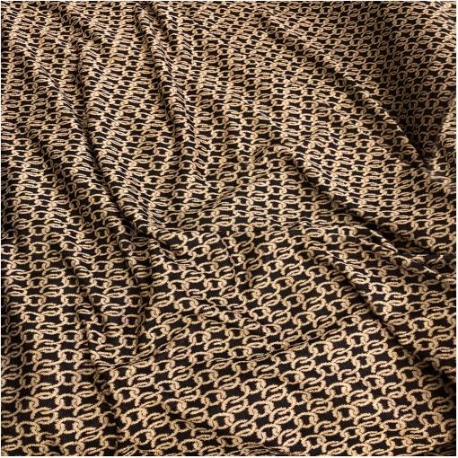 Джерси вискозное нарядное  стрейч с люрексом принт Balenciaga цепи на черном фоне