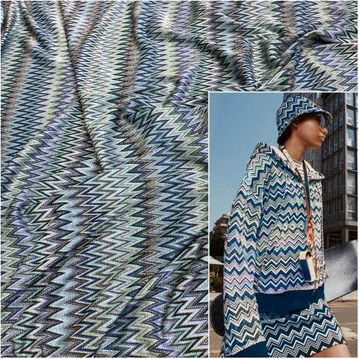Джерси вискозное нарядное  стрейч с люрексом принт Missoni цепи сине-голубые зигзаги