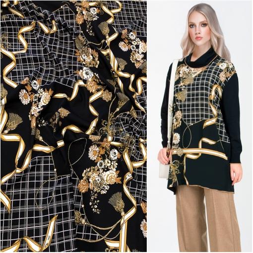 Джерси вискозное стрейч дизайн Elisa Fanti клетка и букеты на черном фоне