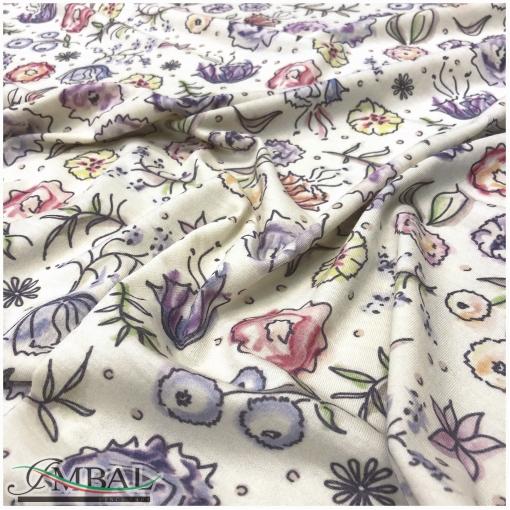 Трикотаж шерстяной с ангорой принт Armani акварельные цветочки