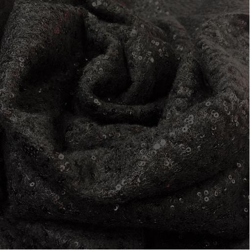 Лоден шерстяной пальтовый черный с черными пайетками