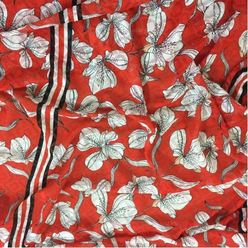 Ткань нарядная филькупе принт Ferragamo купон ирисы на красном фоне