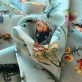 Муслин хлопок с шелком ASPESI мелкий принт на нежно-бирюзовом фоне