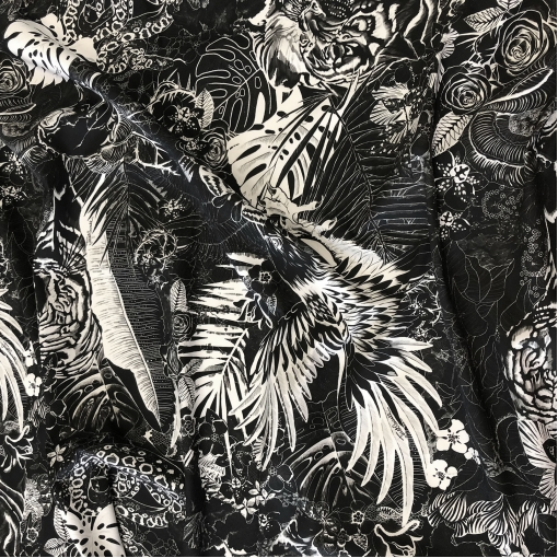 Джинса хлопковая стрейч принт Just Cavalli джунгли в черно-белой гамме