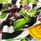 Хлопок стрейч плотный принт Versace черно-белые полосы с разноцветными вензелями