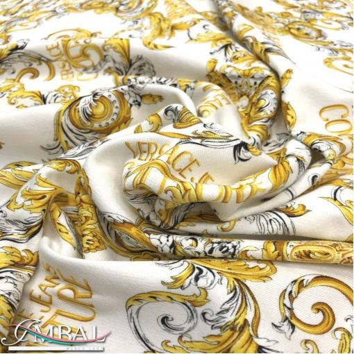 Хлопок - футер стрейч принт Versace золотые вензеля на молочном фоне