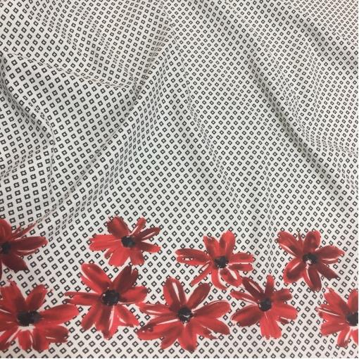 Жаккард х/б нарядный купон серые ромбы с бордовыми ромашками