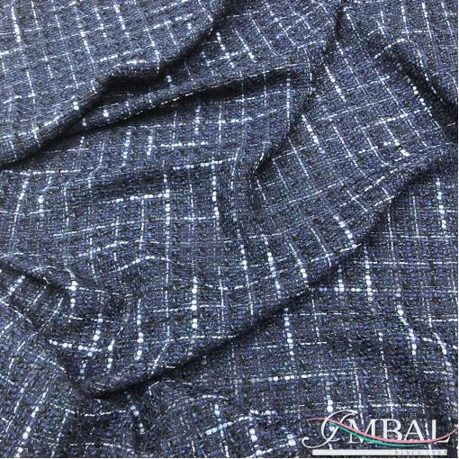Шанель костюмная темно-синего цвета в едва заметную клетку