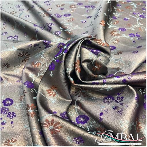 Жаккард нарядный шелковый дизайн Blumarine нежные цветочки на серебристом фоне