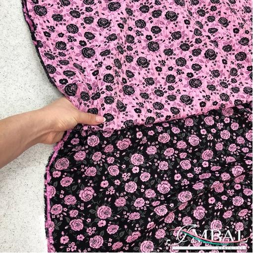 Жаккард нарядный стрейч дизайн Prada двухсторонний чёрно-розовые цветы