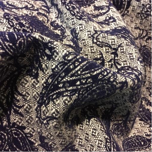Шерсть костюмно-пальтовая принт ETRO с флоковым рисунком синего цвета