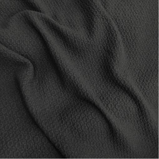 Ткань костюмно-пальтовая шерстяная Prada черно-синего цвета с объемным узором