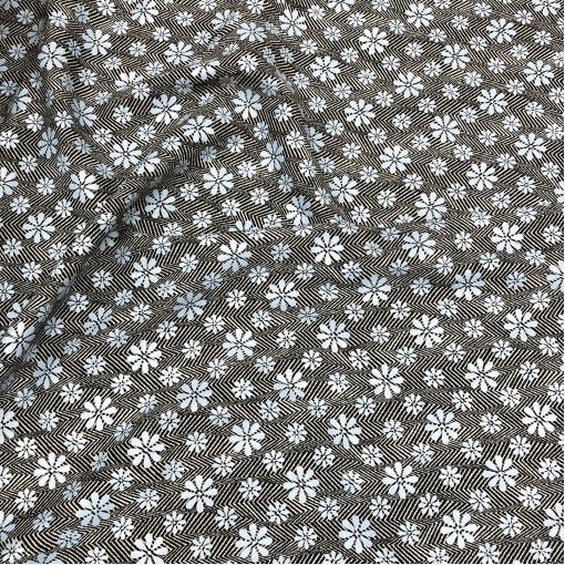 Ткань костюмная шерстяная стрейч Ferragamo черно-голубая елочка и цветы