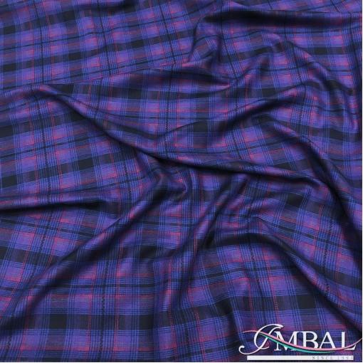 Ткань костюмная дизайн D&G фиолетово-сиреневая клетка
