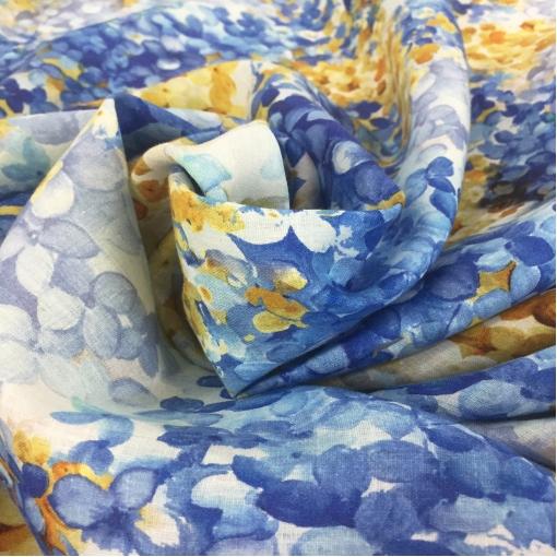 Лен тонкий принт Ferretti сине-желтые цветы