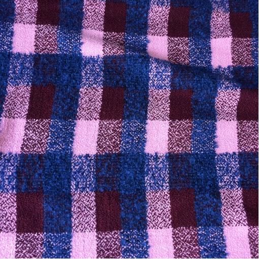 Ткань пальтовая буклированная клетка Burberry в сине-свекольных тонах