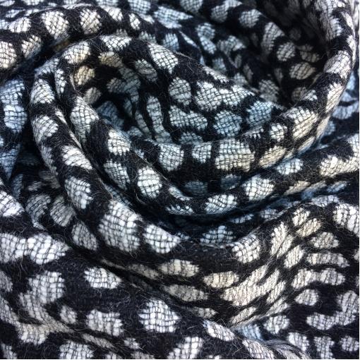 Ткань пальтовая двухсторонняя жаккардовая Prada в горох