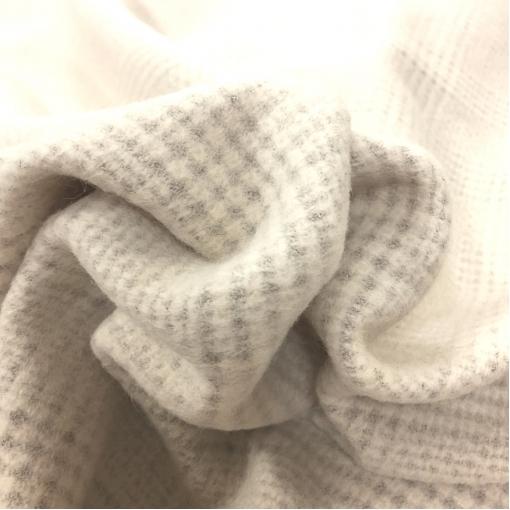 Ткань пальтовая с кашемиром Max Mara нежный пье-де-пуль на ванильном фоне