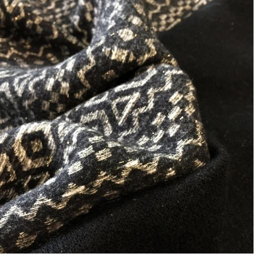 Ткань пальтовая дизайна Ralph Lauren черно-белый узор с легким люрексом