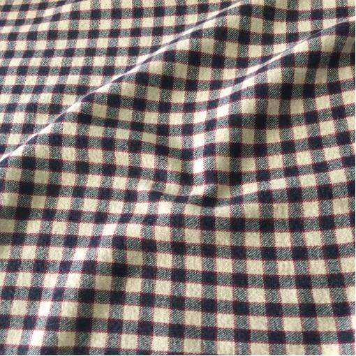 Ткань пальтовая двойная принт Burberry черно-песочная клетка