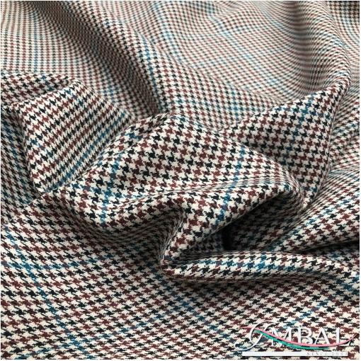 Ткань пальтовая шерстяная разноцветный пье-де-пуль и клетка