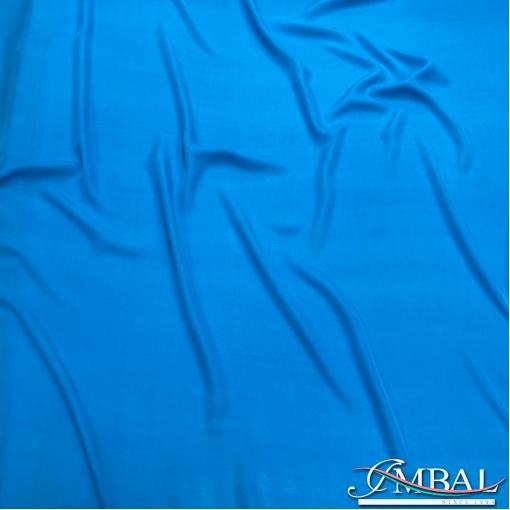 Шелк креповый стрейч непрозрачный цвета ярко-голубой бирюзы