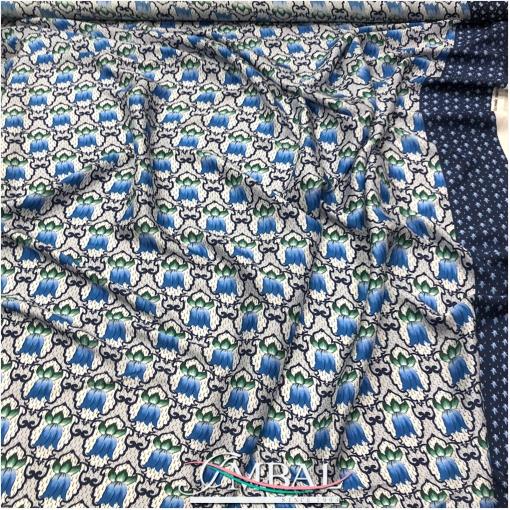 Шелк чесуча принт продольный купон колокольчики в синих тонах с бордюром