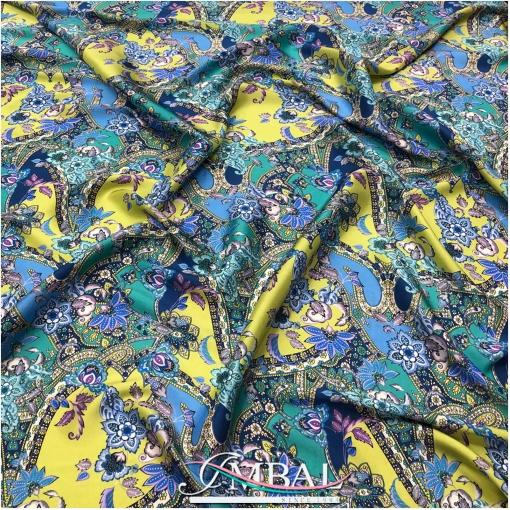 Шелк чесуча принт ETRO цветочный орнамент в лаймово-бирюзовой гамме