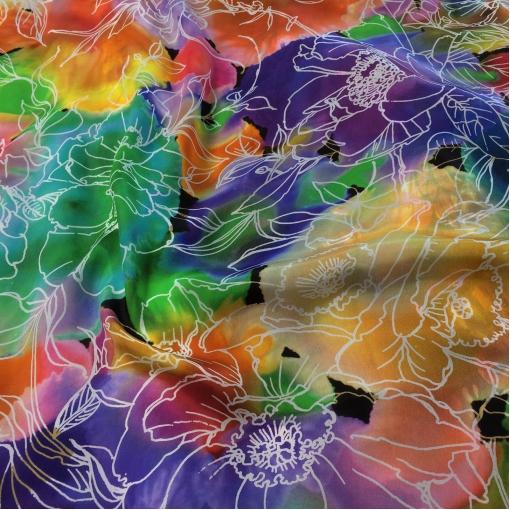 Шелк атласные платки 88х88 см принт Fisico в акварельных цветах
